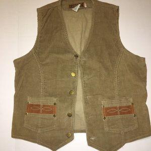 Britania VTG western vest 1970s-80s brown tan (T)